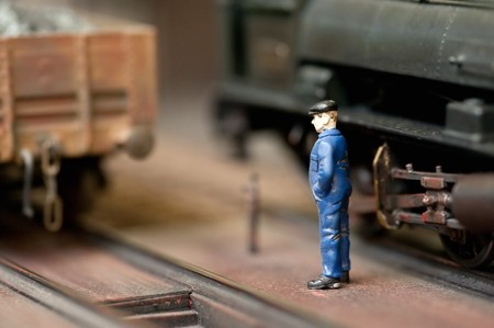 miniature model train engineer with shallow d.o.f photo