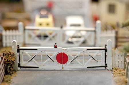 closeup of miniature model railroad barriers photo