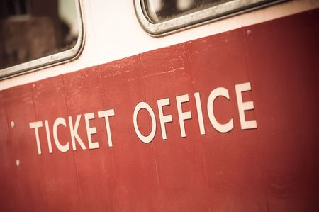 antique booth: vintage ticket office sign