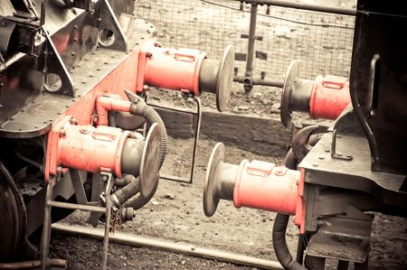 vintage steam train carriage coupling close-up photo