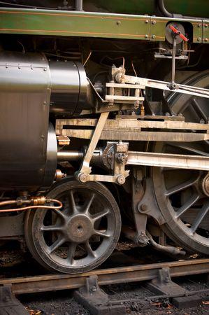 piston and wheel detail of a vintage steam locomotive photo