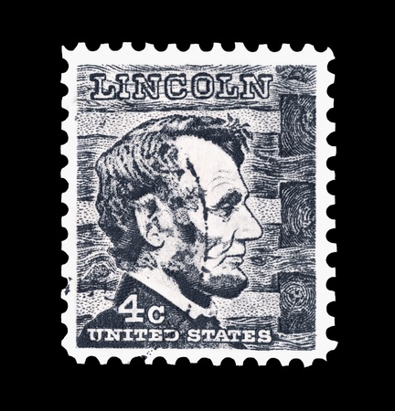 abraham lincoln: mail stamp printed in the USA featuring Abraham Lincoln