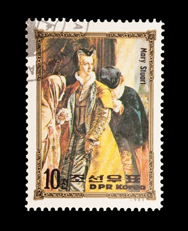 scots: DPR KOREA - CIRCA 1984: mail stamp printed in North Korea featuring British monarch Mary Stuart.
