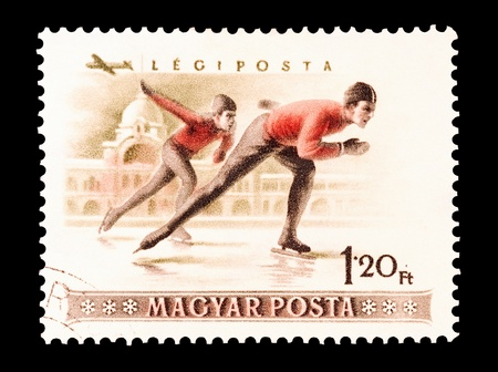 mail stamp printed in Hungary featuring speed skating