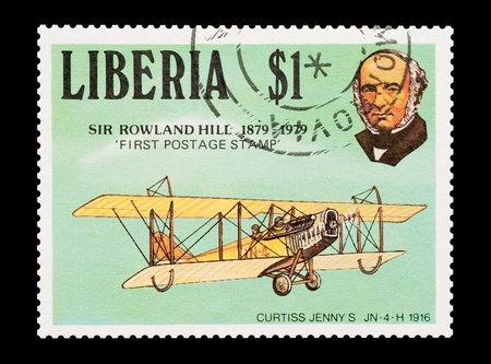 first plane: mail stamp printed in Liberia commemorating postage pioneer Sir Rowland Hill