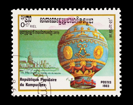 mail stamp printed in Kampuchea (Cambodia) featuring the Montgolfier hot air balloon photo