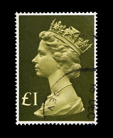 mail stamp printed in the UK featuring the portrait of Queen Elizabeth II