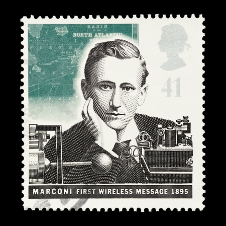 mail stamp printed in the UK featuring Marconis first wireless transmission