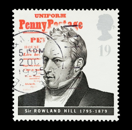 mail stamp printed in the UK commemorating the work of postage pioneer Sir Rowland Hill Stock Photo - 8622932