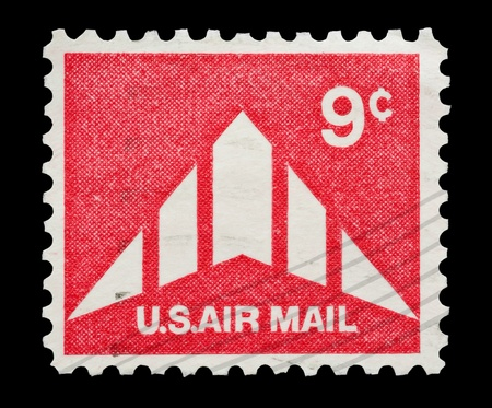 mail stamp printed in USA featuring delta wing US airmail Stock Photo - 8655392