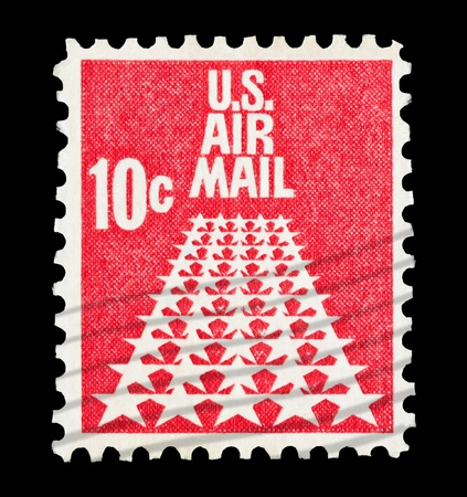 mail stamp printed in USA featuring fifty star US airmail Stock Photo - 8655391