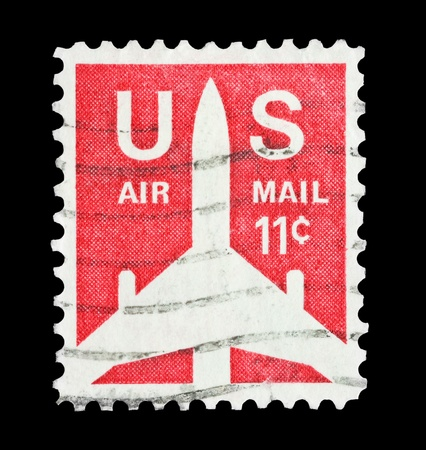air mail: mail stamp printed in USA featuring aircraft silouette US airmail