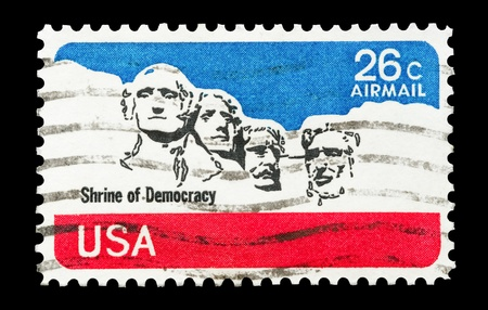 mail stamp printed in USA featuring the Mt Rushmoor Memorial Monument