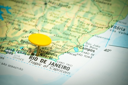 map marked with the location of rio de janeiro in brazil Stock Photo