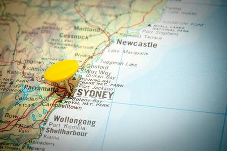 map marked with the location of sydney in australia
