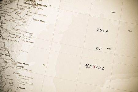 gulf of mexico: vintage effect gulf of mexico map