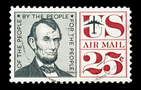 abraham lincoln: airmail stamp printed in USA featuring a portrait of Abraham Lincoln