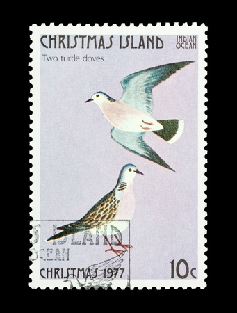 Christmas Island mail stamp featuring the second gift from the Twelve Days of Christmas photo