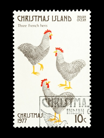 12 days of christmas: Christmas Island mail stamp featuring the third gift from the Twelve Days of Christmas