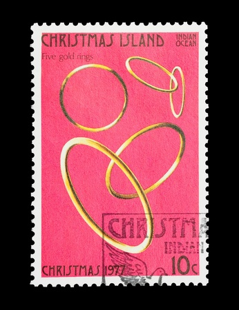 Christmas Island mail stamp featuring the fifth gift from the Twelve Days of Christmas photo