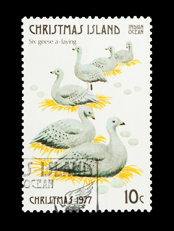 12 days of christmas: Christmas Island mail stamp featuring the sixth gift from the Twelve Days of Christmas
