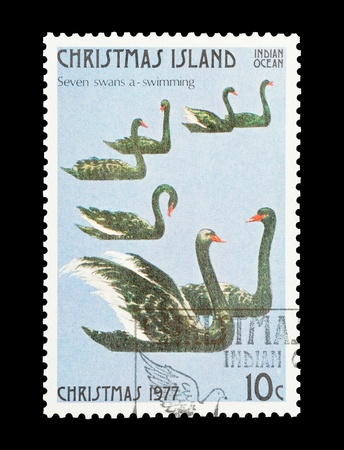 Christmas Island mail stamp featuring the seventh gift from the Twelve Days of Christmas