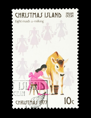 8   12: Christmas Island mail stamp featuring the eighth gift from the Twelve Days of Christmas