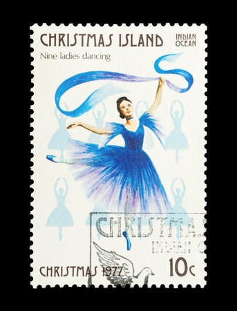 12 days of christmas: Christmas Island mail stamp featuring the ninth gift from the Twelve Days of Christmas Stock Photo