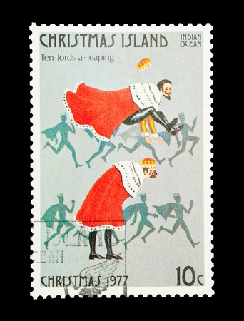lords: Christmas Island mail stamp featuring the tenth gift from the Twelve Days of Christmas Stock Photo