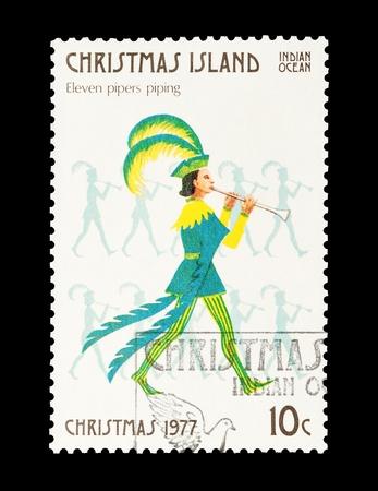 letras musica: Sello de correo de la isla de Navidad con el und�cimo regalo de los doce d�as de Navidad