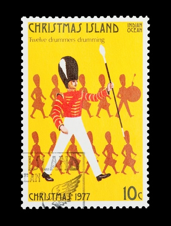 12 days of christmas: Christmas Island mail stamp featuring the twelfth gift from the Twelve Days of Christmas