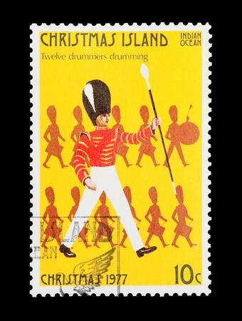 letras musicales: Sello de correo de la isla de Navidad con el 12 � regalo de los doce d�as de Navidad