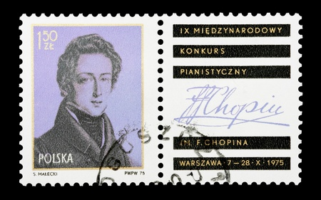 composer: mail stamp printed in Poland featuring the classical composer Chopin