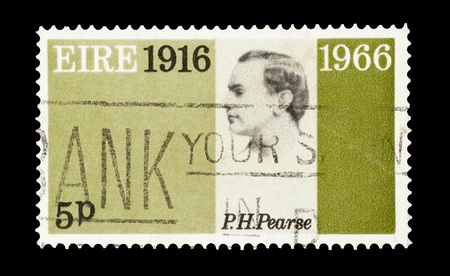 martyr: mail stamp printed in Eire commemorating revolution martyr Patrick Pearse and fifty years of political unrest in Ireland