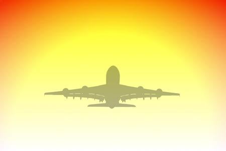 aviones pasajeros: Ilustraci�n de silueta y puesta de sol de aviones de pasajeros grandes