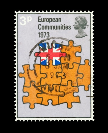 european economic community: Mail stamp printed in the UK commemorating entry into the European Economic Community (EEC), circa 1973 Stock Photo