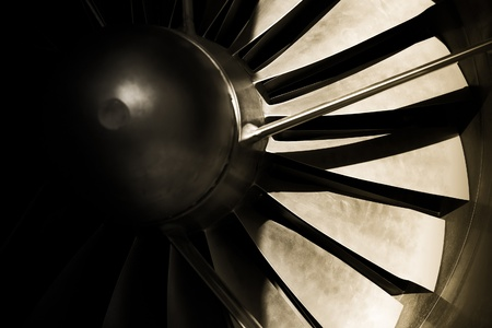 jet engine turbine blades abstrac with strong shadows Stock Photo