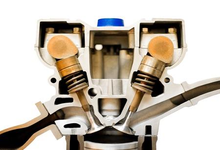 isolated cutaway model of an vehicle engine pistons Standard-Bild