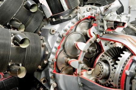 precision: precision mechanics inside a vintage aircraft engine