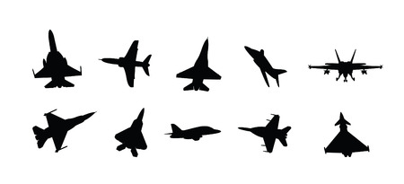 modern military fighter jet silhouettes  Vector