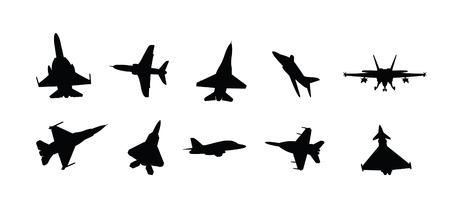 battle plane: siluetas de caza militar moderno chorro