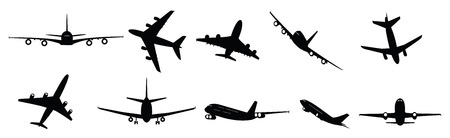 collection of illustrated passenger jet aircraft