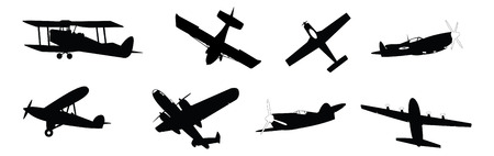 set of illustrated propeller powered aircraft
