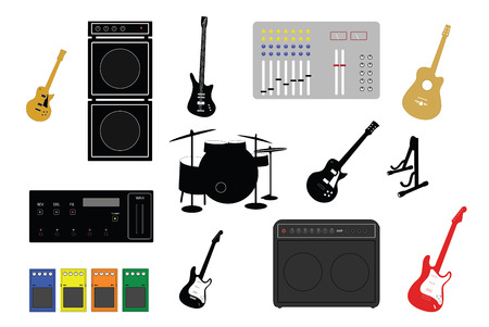 musical instruments and studio equipment illustrations Vector