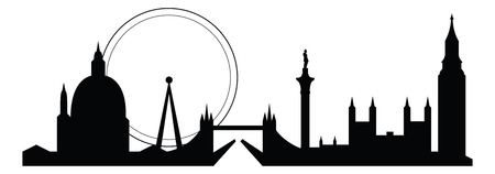 houses of parliament   london: skyline silhouette of famous london city landmarks