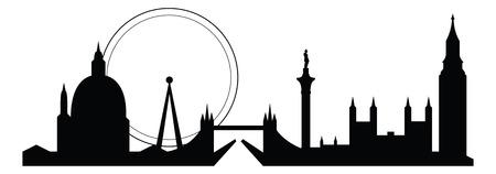 skyline silhouette of famous london city landmarks