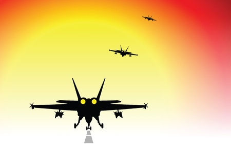 military fighter jets taking-off and flying into a sunset photo