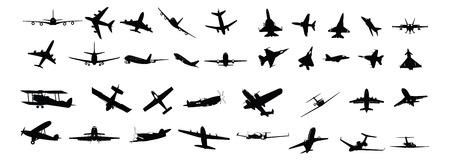Miltary, passager, hélice et silhouettes d'avions d'affaires Banque d'images - 9104617