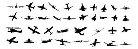 jet fighter: miltary, passenger, propeller and business aircraft silhouettes Illustration
