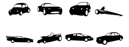 hotrod: silhouette illustrations of various automobile body styles